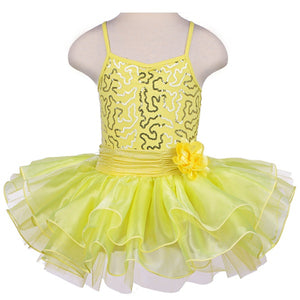yellow girls tutu dress with flower bow