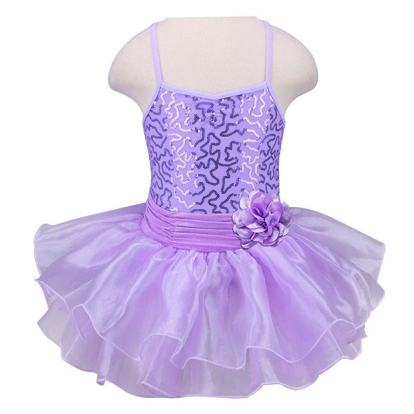 lavender girls tutu dress with flower bow
