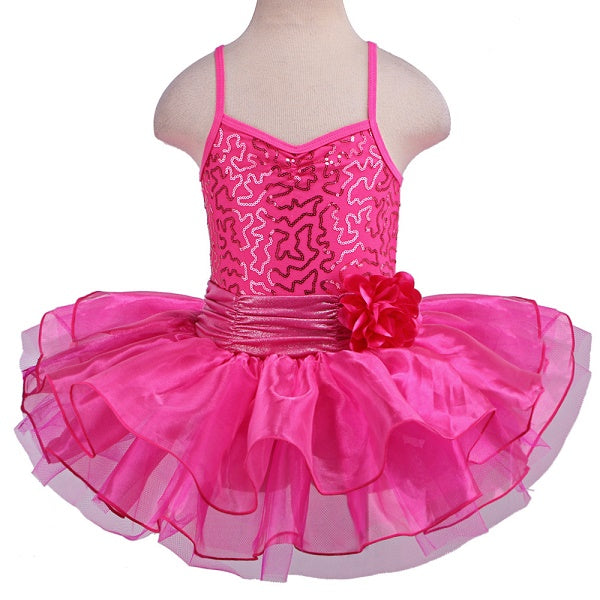 hot pink girls tutu dress with flower bow
