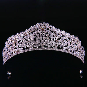 silver tone tiara with rhinestones and crystals