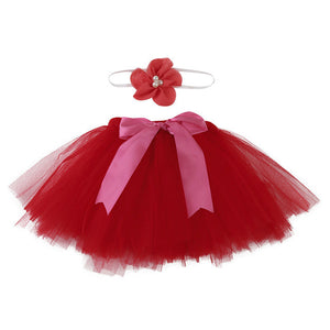 red tutu for baby with matching headband