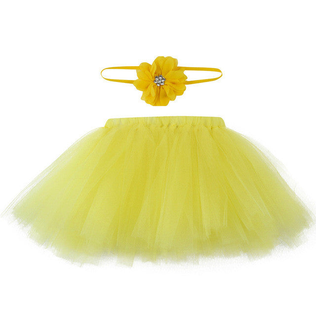 yellow tutu for baby with matching headband