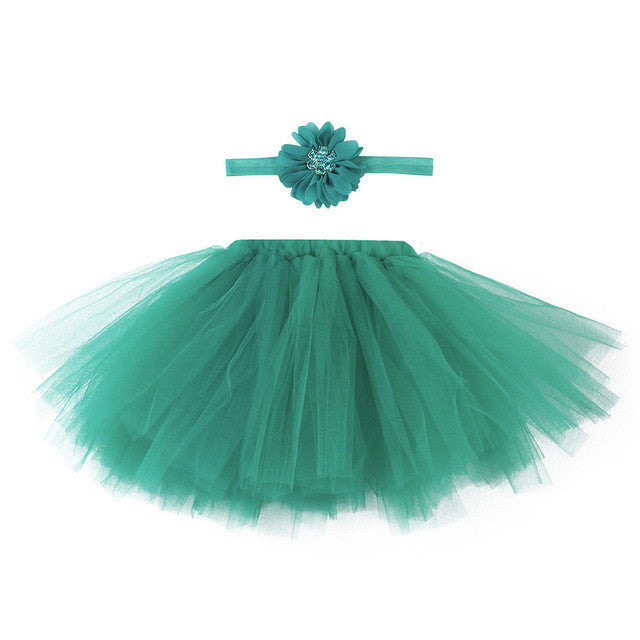 forest green tutu for baby with matching headband