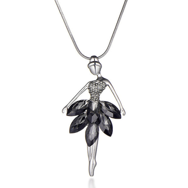 silver tone ballerina necklace with black crystals and cubic zirconia