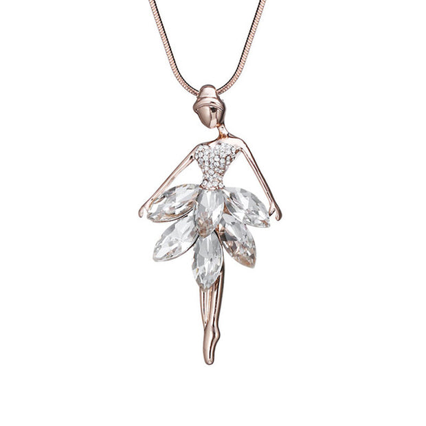ballerina necklace with cubic zirconia and crystals