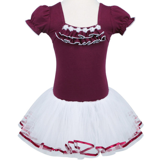 maroon girls tutu dress with white tutu