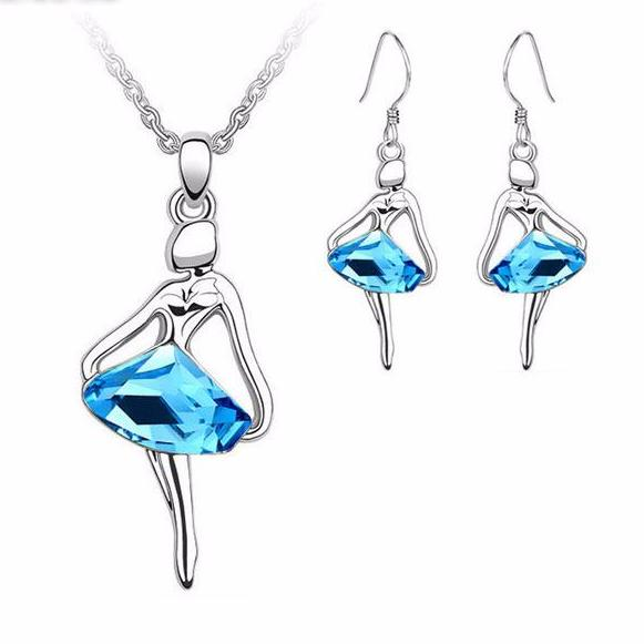 blue crystal ballerina necklace and earring set silver tone