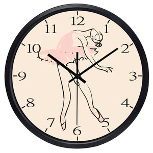 ballerina wall clock with black rim
