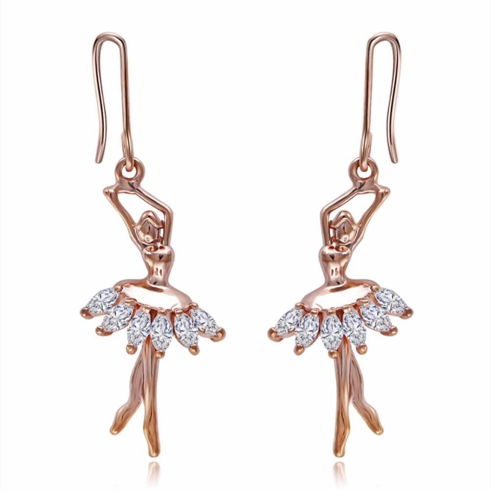 Ballerina drop earrings made of rhinestones and copper
