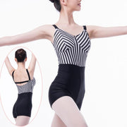 women wearing black and striped unitard or biketard