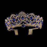 Front of gold tone ballet wedding crown/tiara with sapphire jewels.