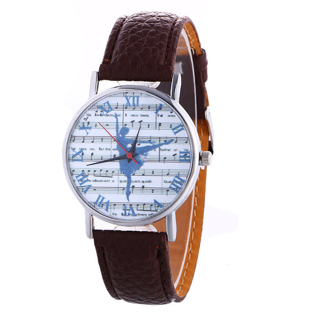 ballerina watch with brown band
