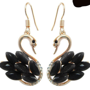 faux black opal swan drop earrings