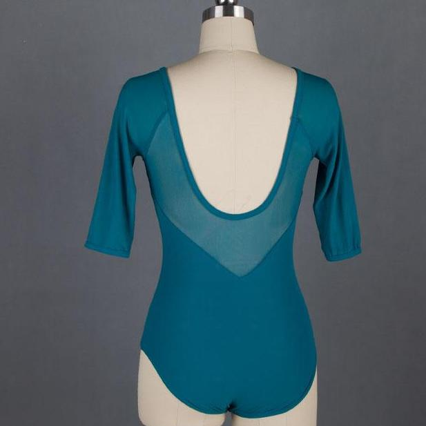 Back of teal mesh ballet leotard with 3/4 sleeves.