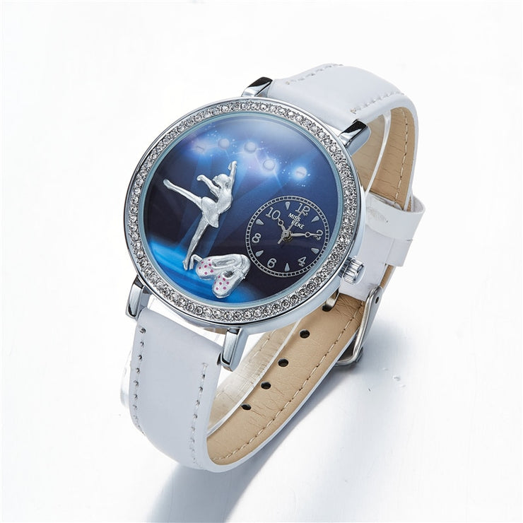 front of ballerina watch with white wrist band