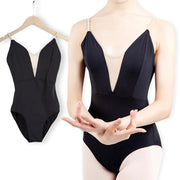 front of black camisole leotard with v style insert