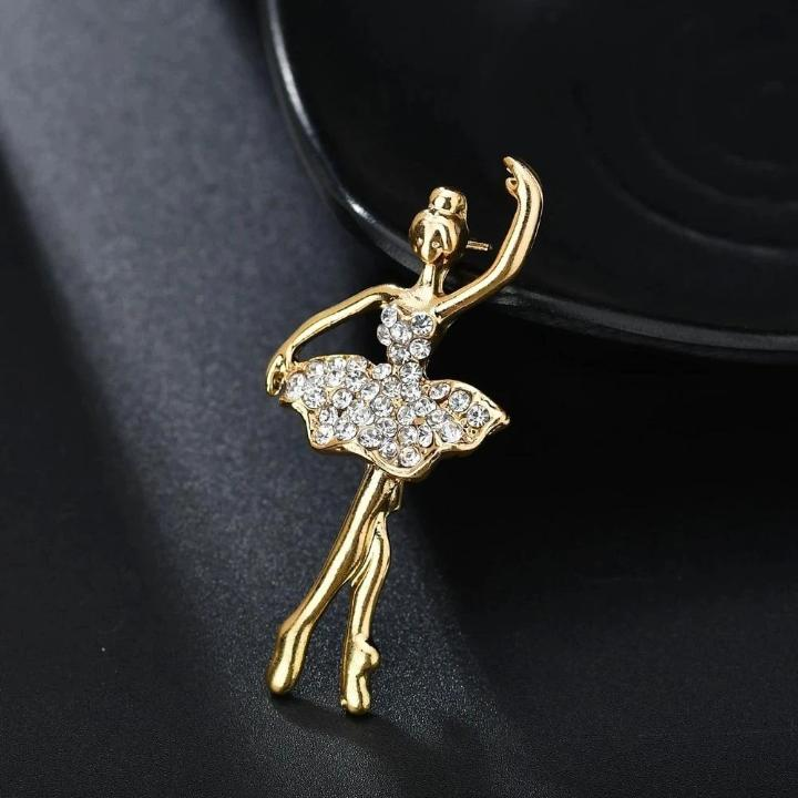 gold and crystals ballerina pin brooch