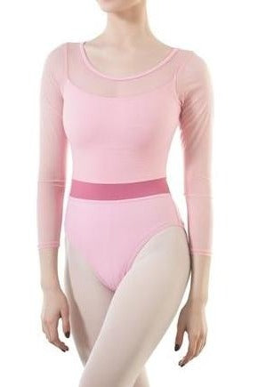 Front of pink mesh 3/4 sleeve leotard with underlying  pink camisole.