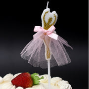 Ballerina Birthday candle with pink tutu dance ballet