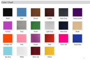 color chart for zipper front leotard