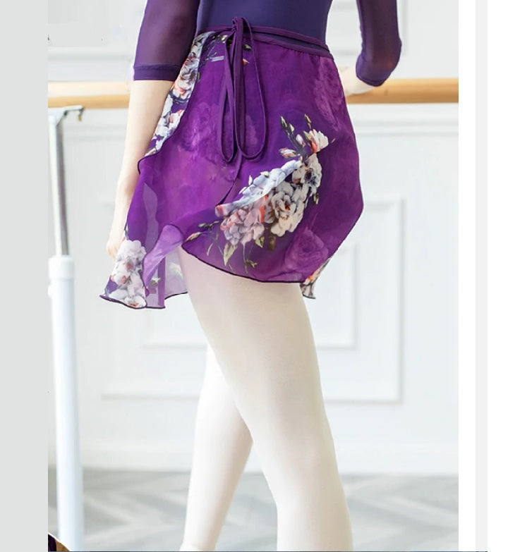 purple floral chiffon ballet skirt