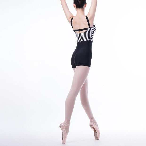 back of woman wearing black and striped unitard or biketard