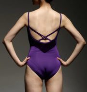 Back of purple cross back camisole leotard