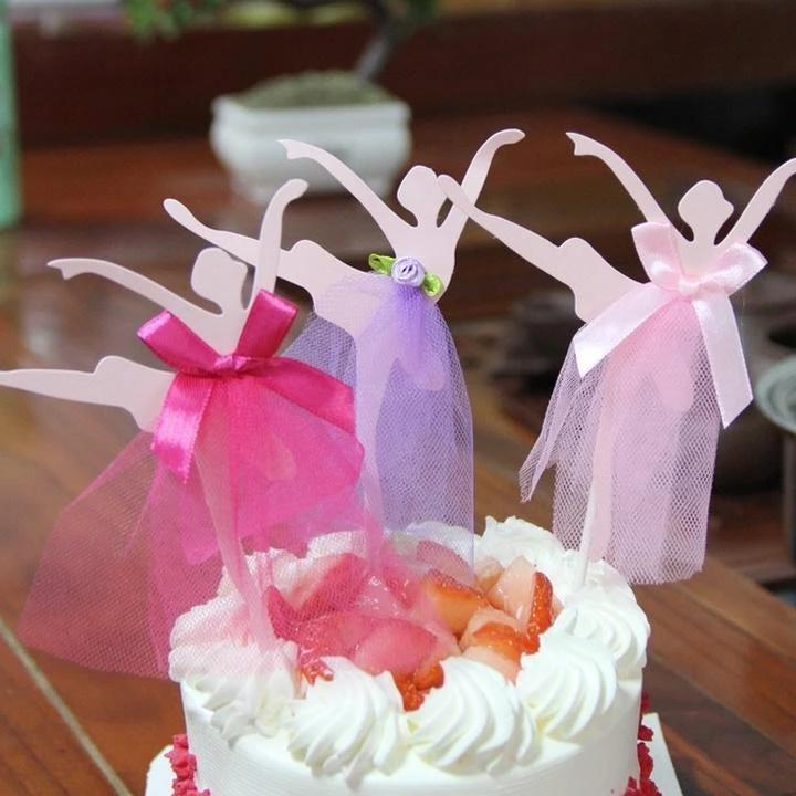 Ballerina cake and cupcake toppers
