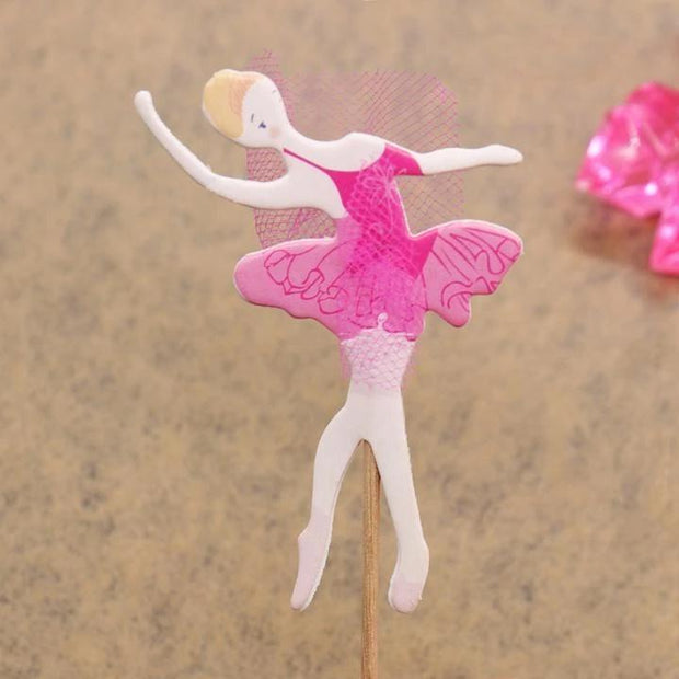 pink ballerina cake and cupcake topper