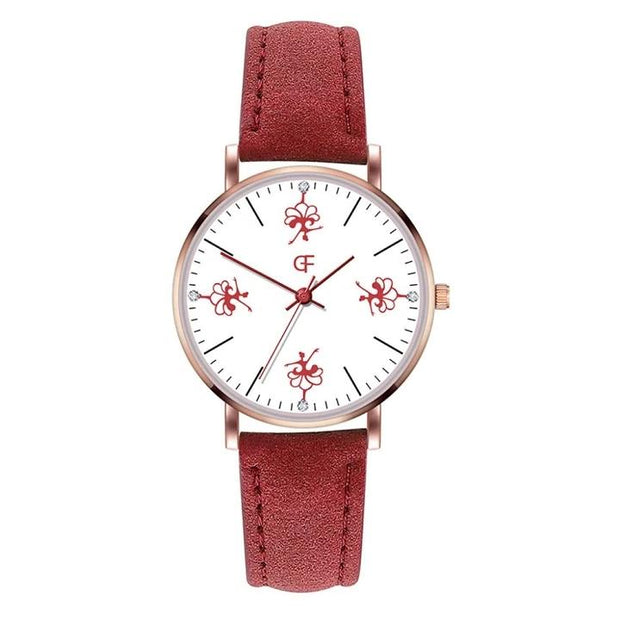 Front of dancer ballerina watch with red band