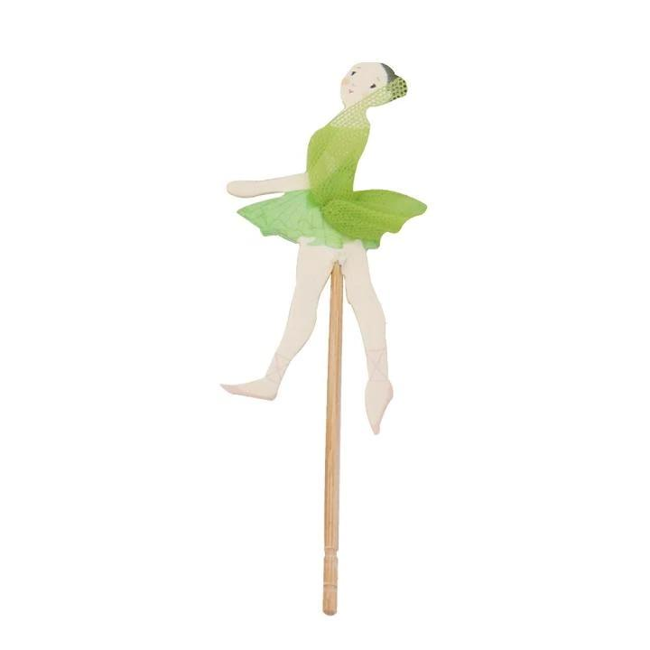 green ballerina cake and cupcake topper