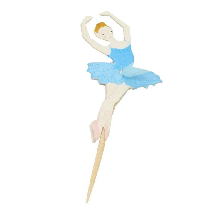 blue ballerina cake and cupcake topper