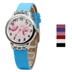 Front of turquoise girls ballerina watch