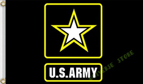 3X5FT Black Yellow and White U.S. Army Star Logo Flag