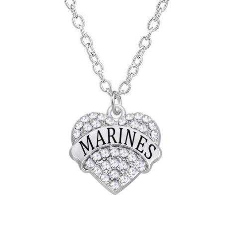 Silver Tone Marines Charm Necklace