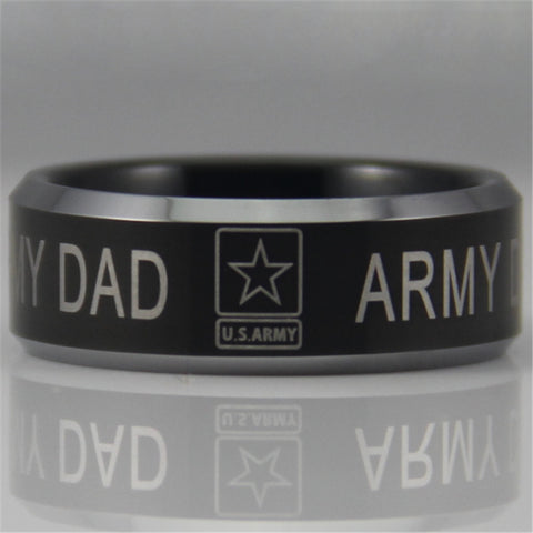 Army Dad Design Men's Black Tungsten Ring