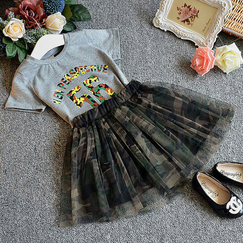 Girls Short Sleeve Top and Camouflage Skirt Set