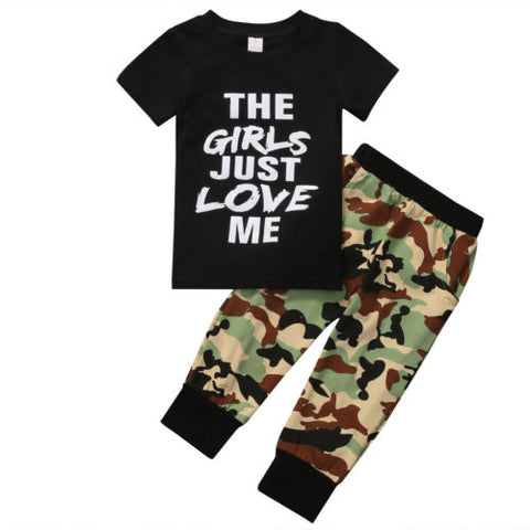 Camouflage Kid Boys Clothing Set 2Pcs Newborn Toddler Kids Baby Boys T-shirt+Camouflage Pants Outfits Clothes