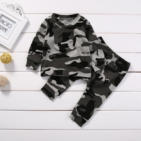 Boys and Girls Camouflage Pant and Long Sleeve Top Set