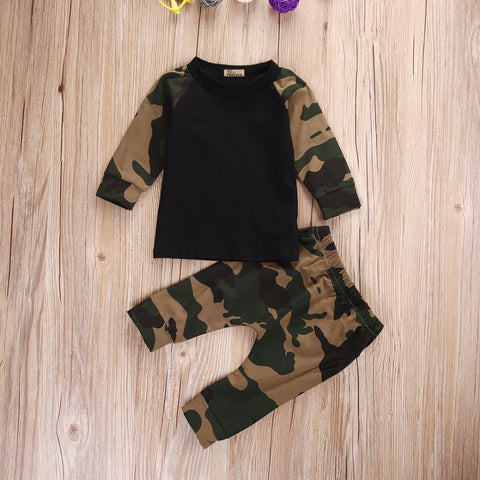 Toddler Army green camouflage Top and Pants Set