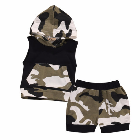 Newborn Infant Baby Boy Girl Clothes Cool Design Camouflage Hooded Vest Top T shirt Pants 2pcs Outfits Toddler Kids Clothing Set
