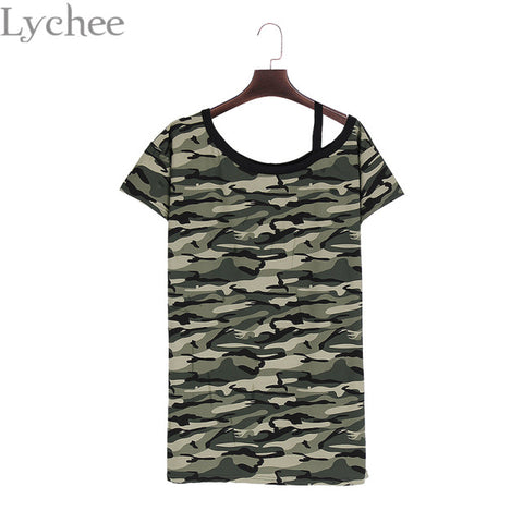 Lychee Harajuku Summer Women Dress Strap Camouflage Off Shoulder Short Sleeve Casual Loose T Shirt Dress