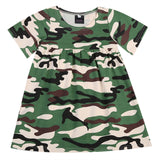 Toddler Army Green Camouflage Short Sleeve Dress