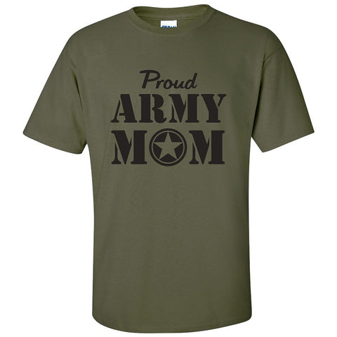 Proud ARMY Mom Short Sleeve Military Green T-Shirt