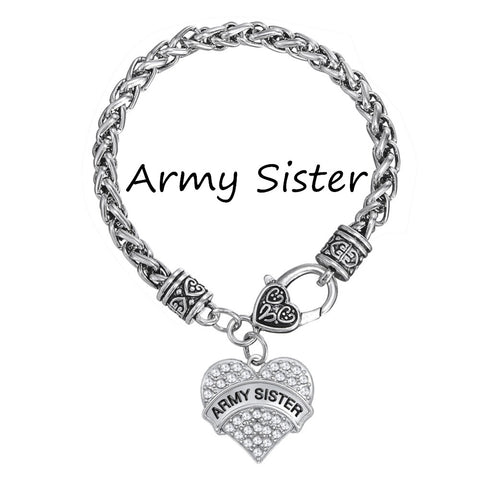 Army Sister Crystal Heart Charm Bracelet Silver Plated