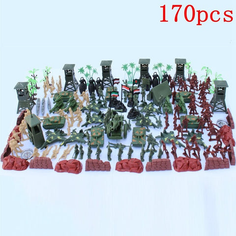 170pcs/set Military Plastic Model Toy Soldier Figures & Accessories Playset