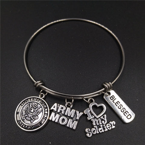 Polished Stainless Steel Adjustable Wire Bangle USA Army Mom Charm
