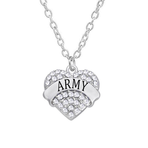 Army Silver Tone Alloy Rhinestone Heart Charm Necklace