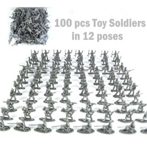 100pcs/set Military Plastic Toy Soldiers 12 Poses