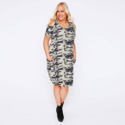 Kissmilk Plus Size Women Camo Print T-shirt Dress Casual Military Camouflage Tunic Cold Shoulder Dress Big Size Dress 3-6XL
